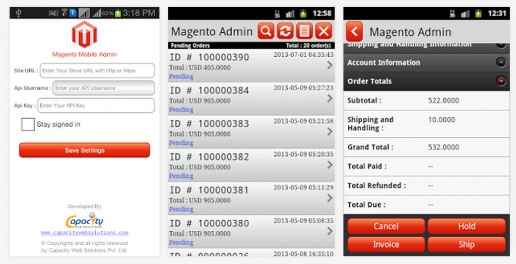 magento admin android