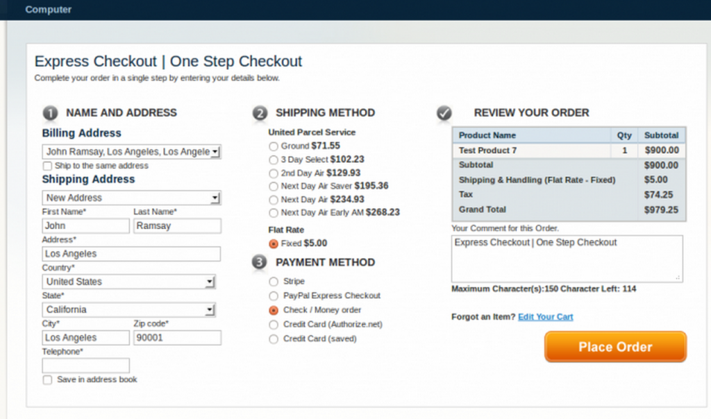 One Step / Page Checkout Magento Extensions