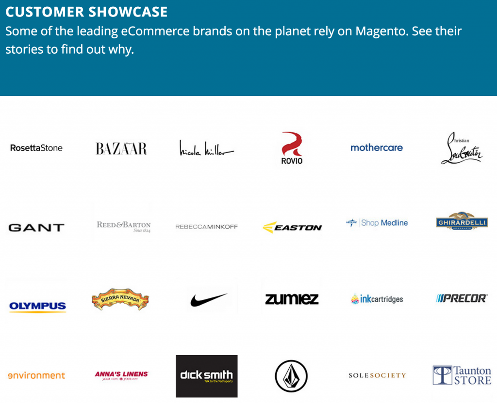 magento customers showcase