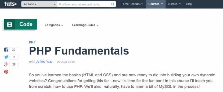 PHP Fundamentals by Tuts+