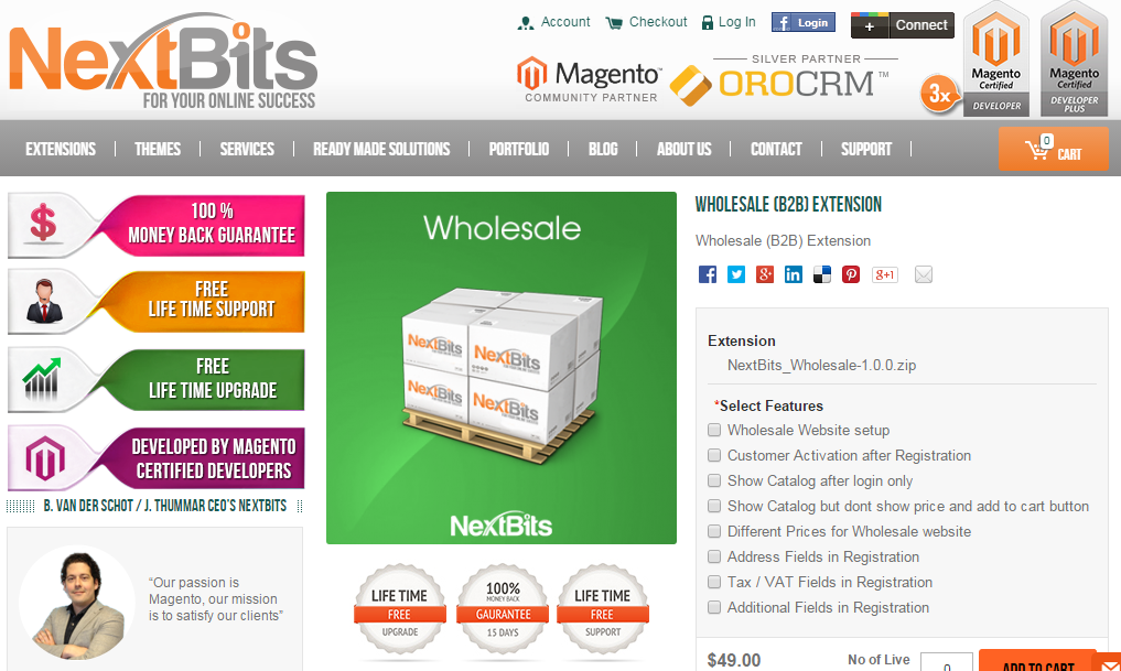 B2B extensions for Magento