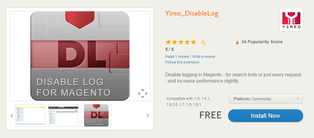 Magento performance improvements: Yireo_DisableLog