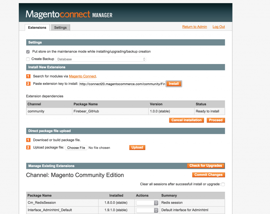 magento connect install extension