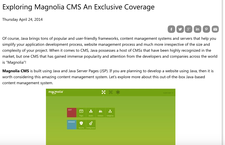Java-based content management systems: Magnolia