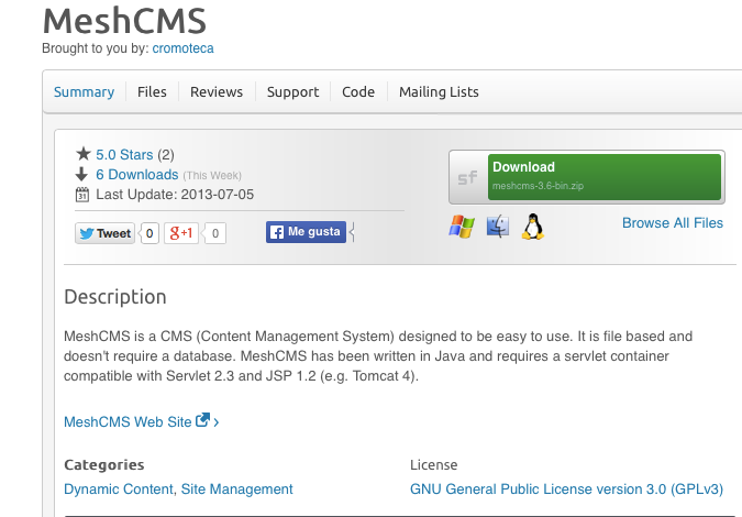 Java content management systems: MeshCMS