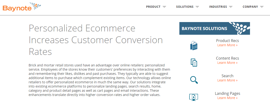 E-commerce personalization services: Baynote