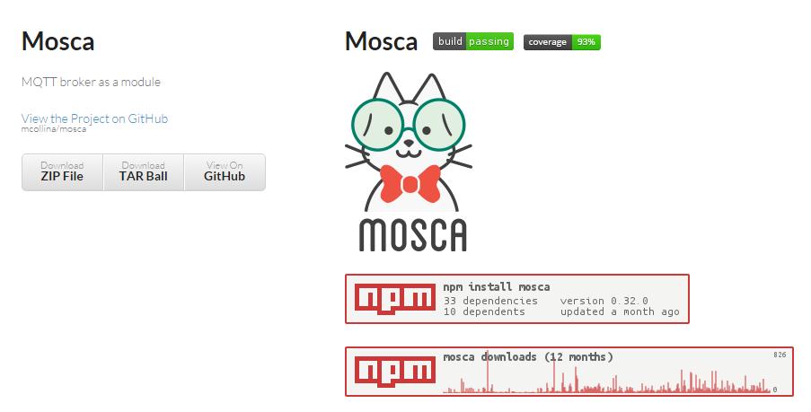 IoT development with Node.js: Mosca