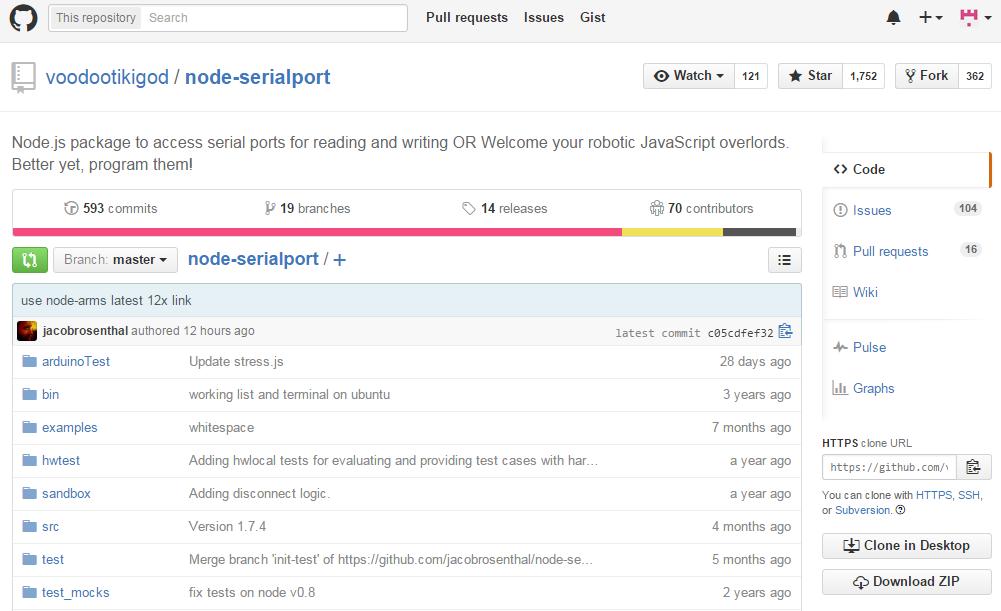 IoT development with Node.js: Node-Serialport