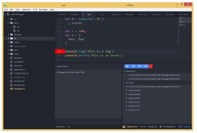 Node.js debugging with Atom Node Debugger