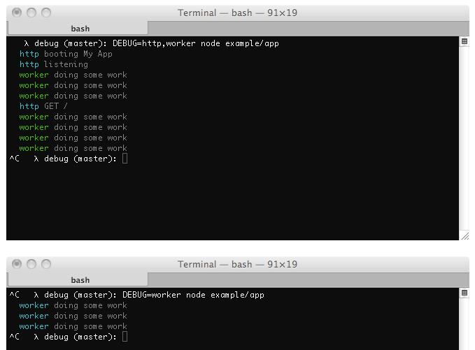 Node.js debugging with Debug by Visionmedia
