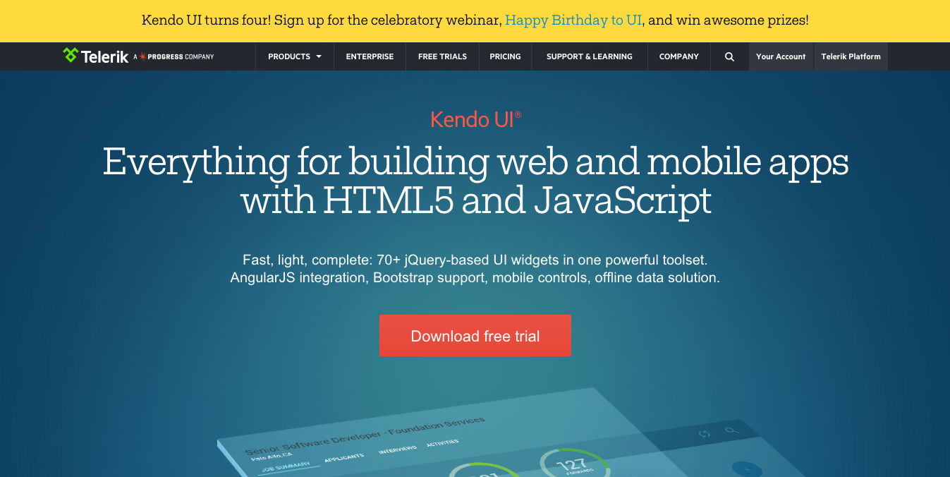 Tools for Hybrid Application Development: Kendo UI