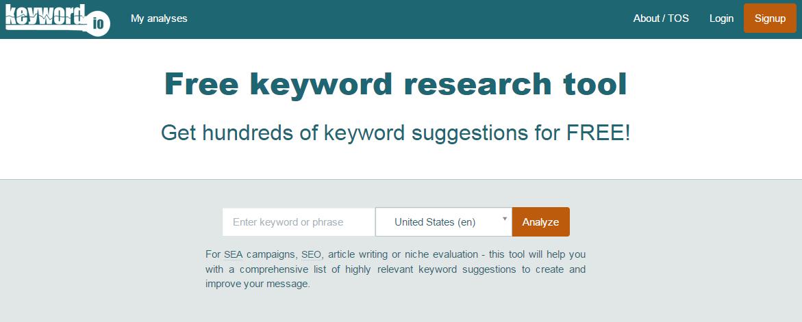 Keyword Research Tools: Keyword IO