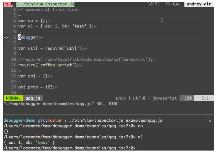 Node.js debugging with Node Vim Debugger