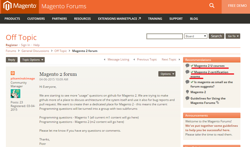 keyword research on Magento 2 forum