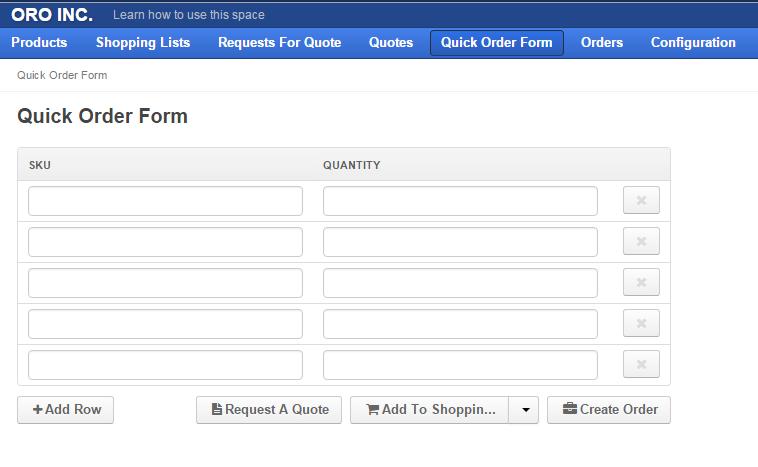 OroCommerce's Quick Order Form
