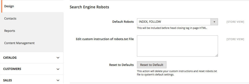 Magento 2 SEO features: Robots.txt