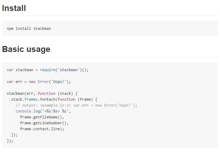 Stackman for node.js debugging