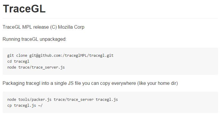node.js debugging tools: TraceGL