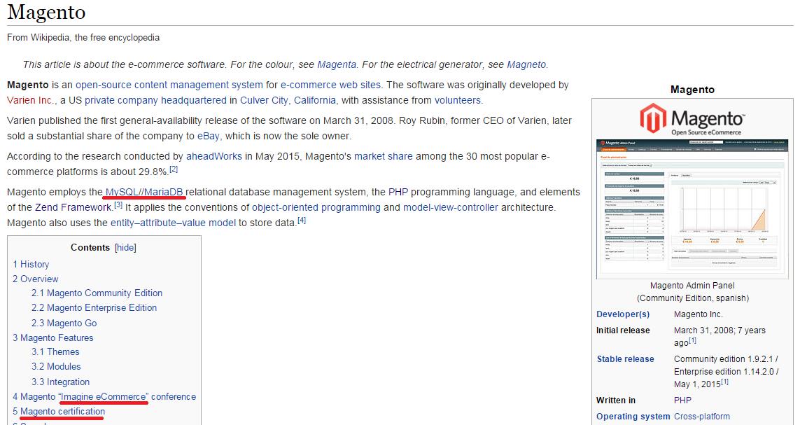 Wikipedia about Magento