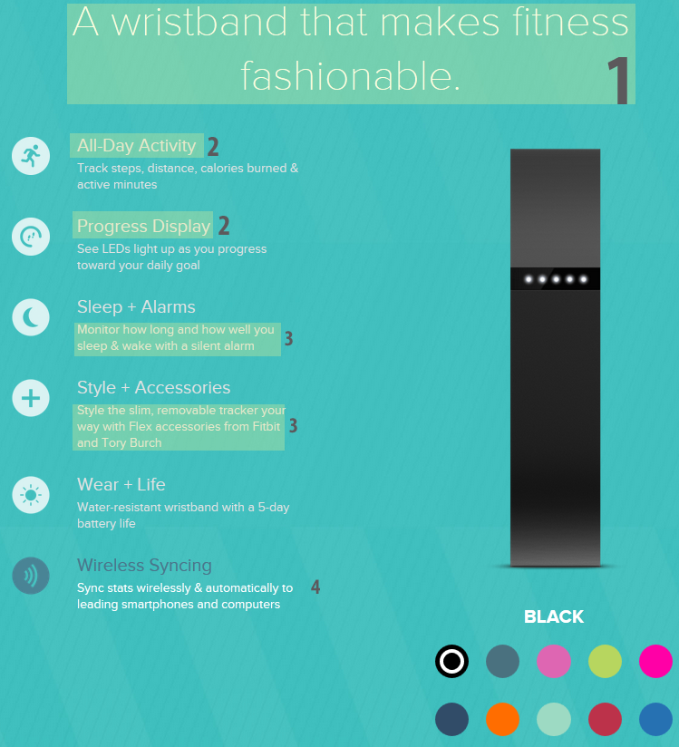 e-commerce typographic hierarchy: fitbit typorgapic hierarchy on product page