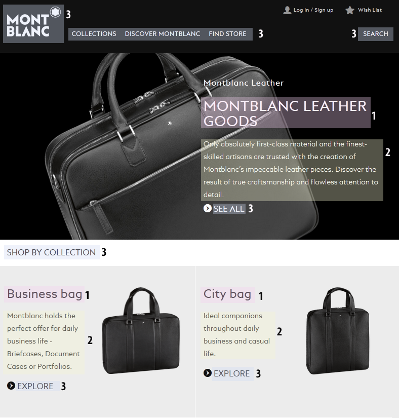 e-commerce typographic hierarchy: front page example