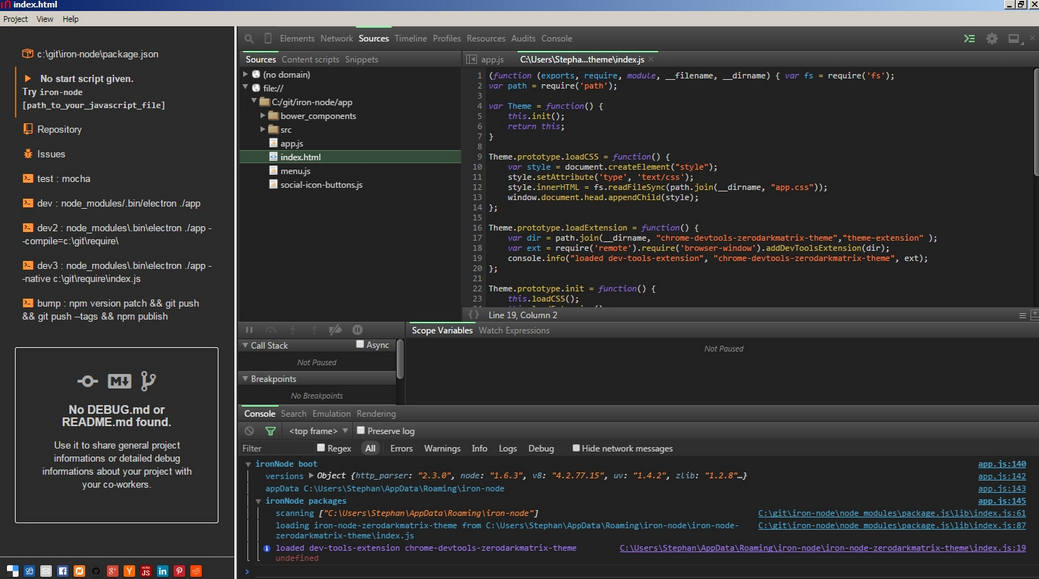 Node.js debugging with ironNode