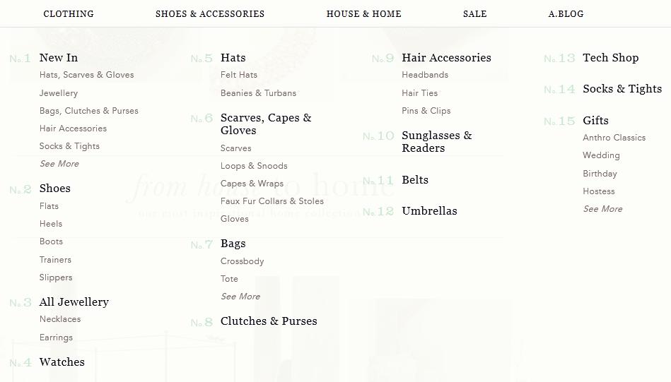 e-commerce typographic hierarchy: menu typorgaphy