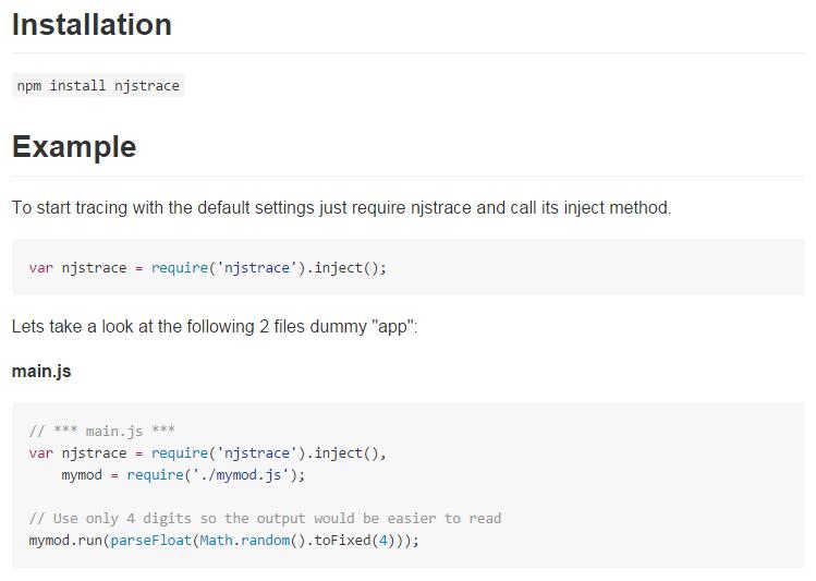 debug node.js with njsTrace