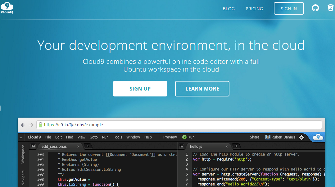 Cloud9 Node.js IDE