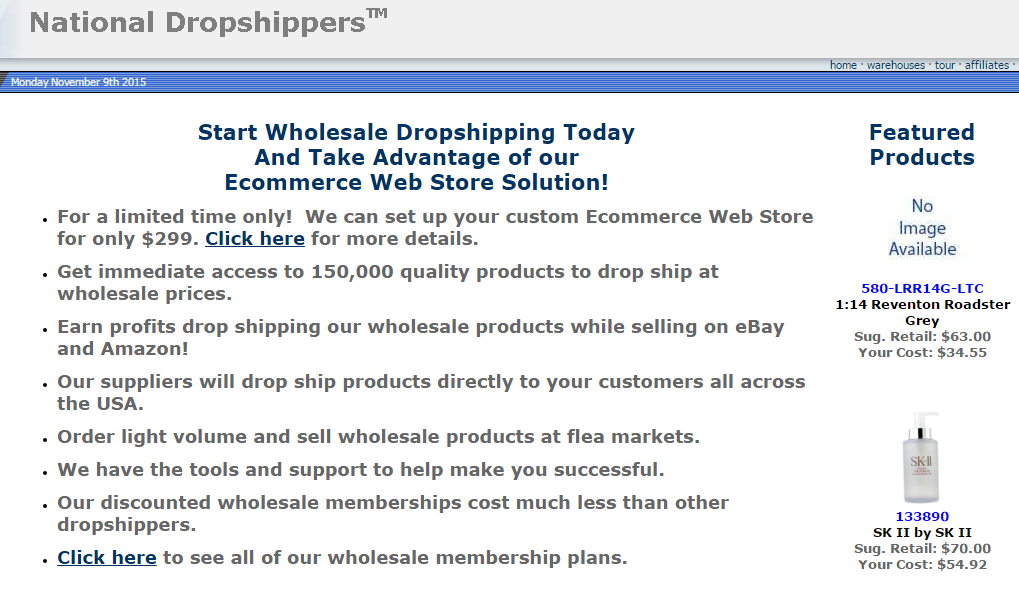 National Dropshippers drop shipping company