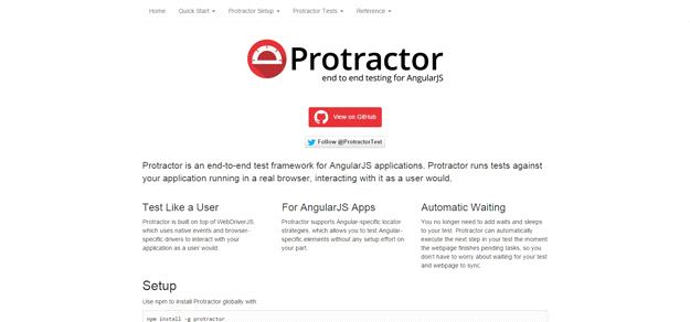 AngularJS tools: PROTRACTOR