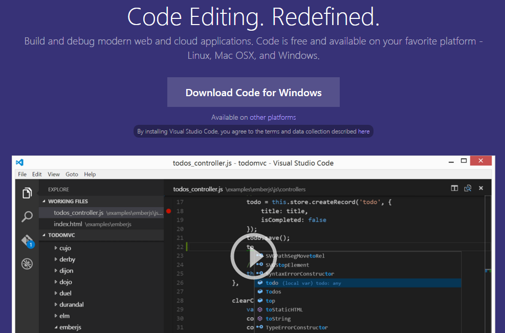 Visual Studio Code IDE for Node