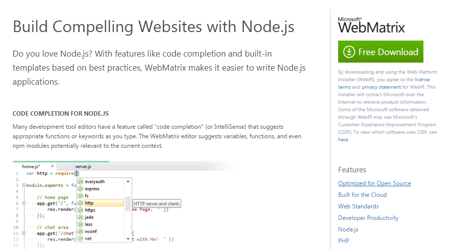 WebMatrix IDE for Node.js development