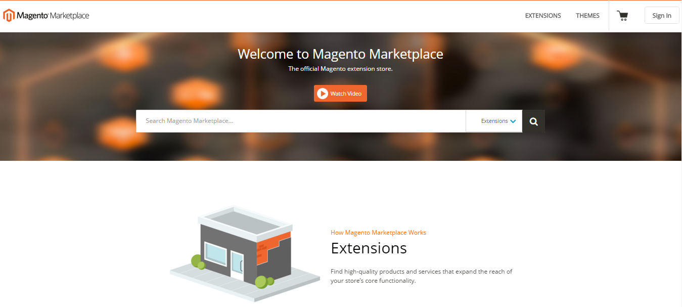 Frontpage of Magento Marketplace