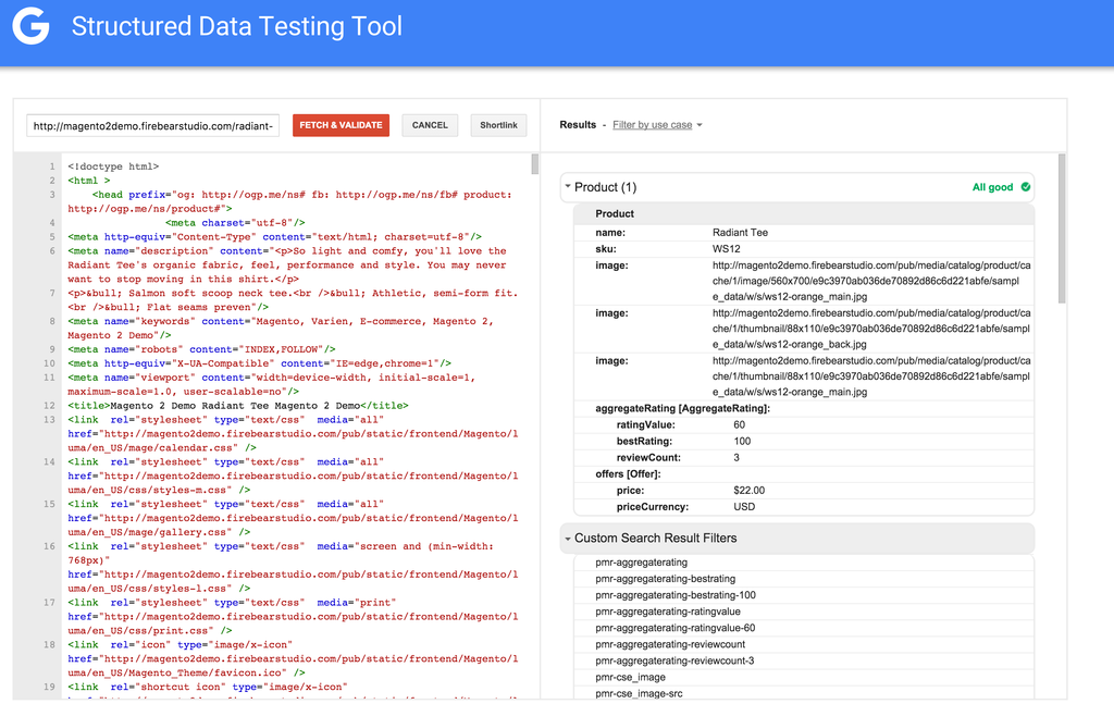 Schema.org markup in Structured Data Testing Tool
