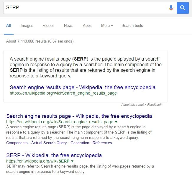 Google PageRank SERP