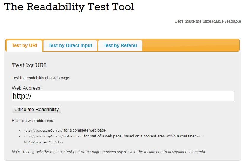 Readability Test Tool