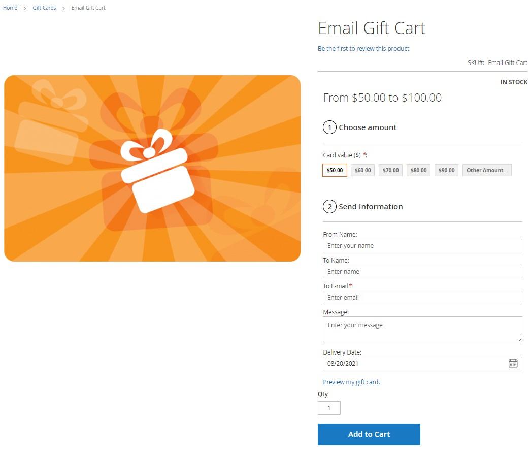 MageWorx gift cards Magento 2 module