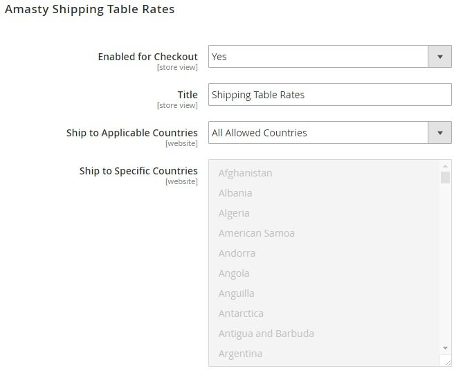 Magento 2 shipping table rates Extension