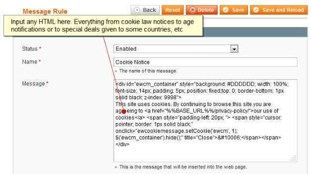 Extendware Cookie Law Magento Extension Review; Extendware Cookie Law Magento Module Overview