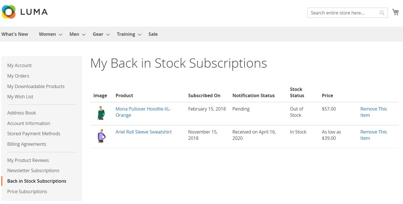 Amasty Out of Stock Notification Magento 2 module frontend