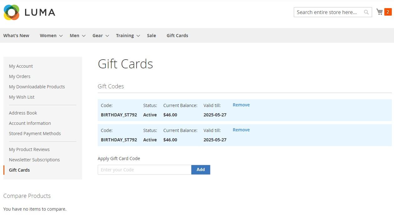 Amasty Gift Card Magento 2 module