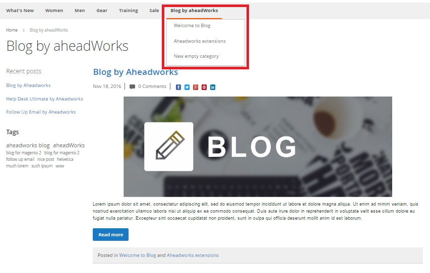 Magento 2 Blogs Comparison aheadworks vs amasty