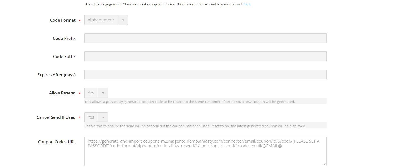 Magento 2 Coupon URL Builder