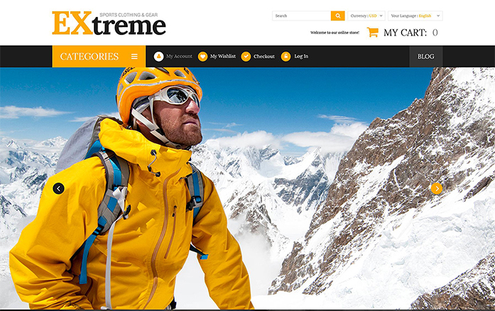 Extreme Sports Gear Magento Theme