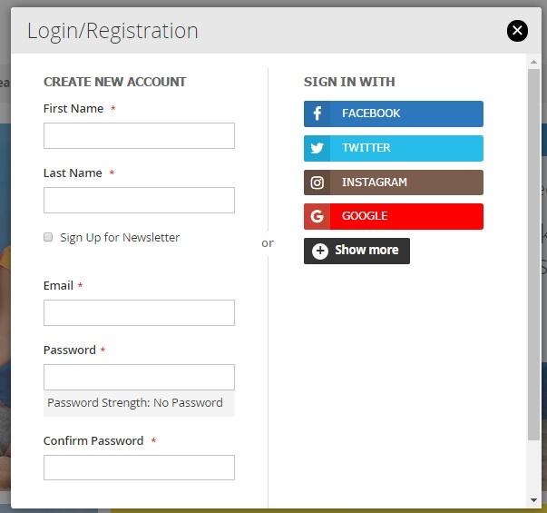 Magento 2 Social Media Login Registration