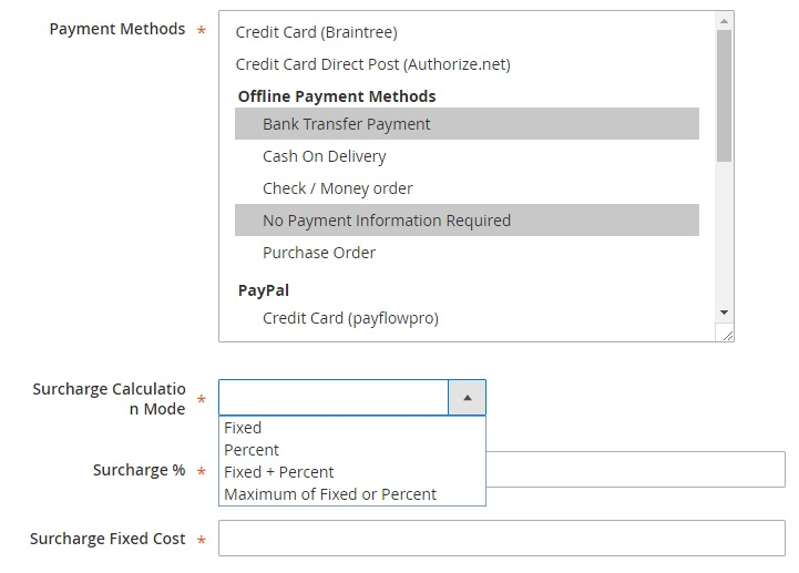 Magento 2 Payment Surcharge Extension