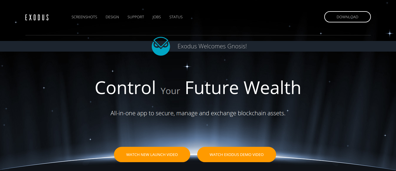 Exodus digital cryptocurrency wallet