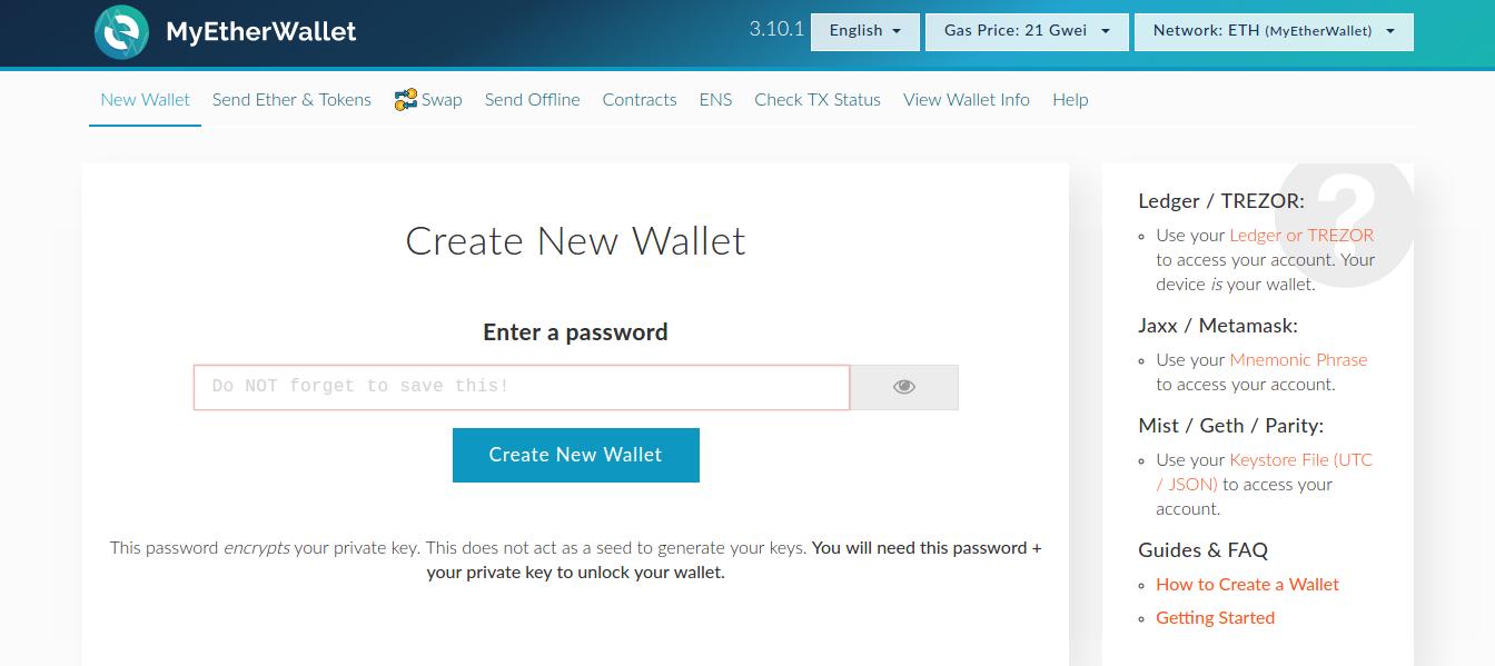 online Ethereum wallet