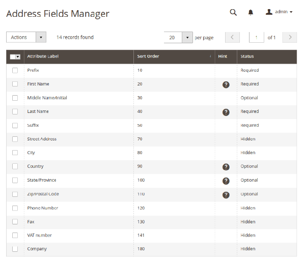 Magento 2 Address Fields Manager Extension
